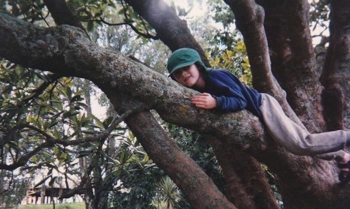 Tom climbing a tree