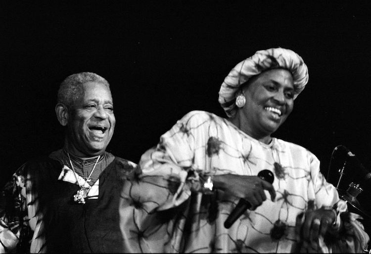 Miriam Makeba in concert with Dizzy Gillespie.