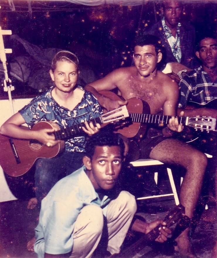 Sue, jamming with other musicians during her trip across the Pacific in the mid-1950s.