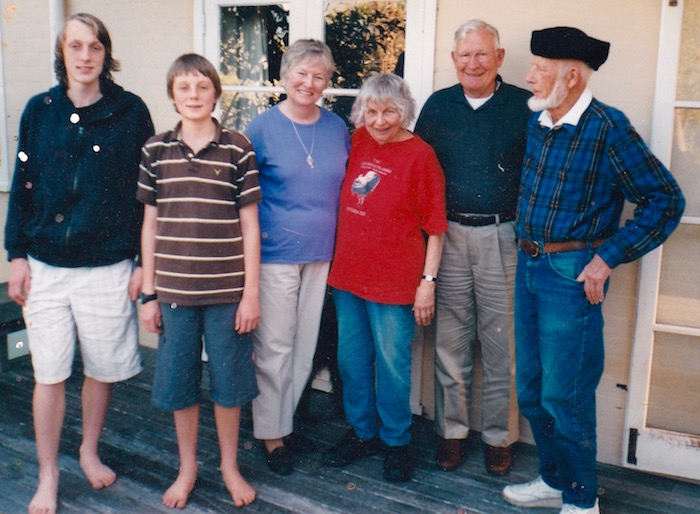 Sue (in red T-shirt) with, from left, grandsons Tom and Albert Bannister; her cousins from Delaware, Sue and Jim Payne, and husband Terry O'Meara.