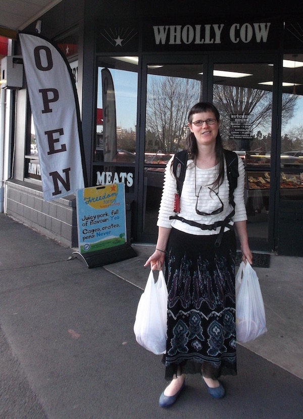 Milanka Mandela on a recent Time Bank shopping trip. She's coming out of our local butchery, Wholly Cow, laden with excellent Waikato beef and lamb, some of which will go into meals for the Hamilton Homeless Trust.