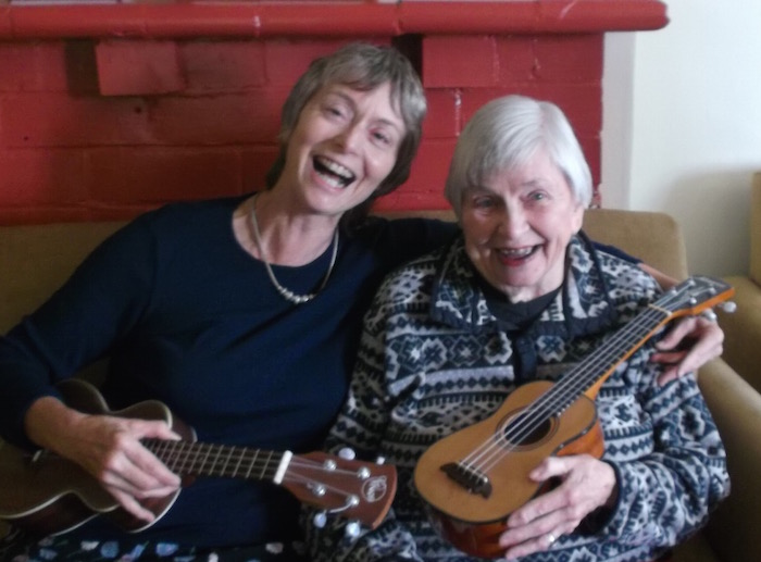 Sue and Alice with ukuleles