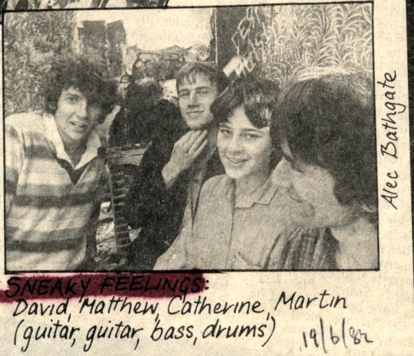 Kat, second from right, with the boys in the band.