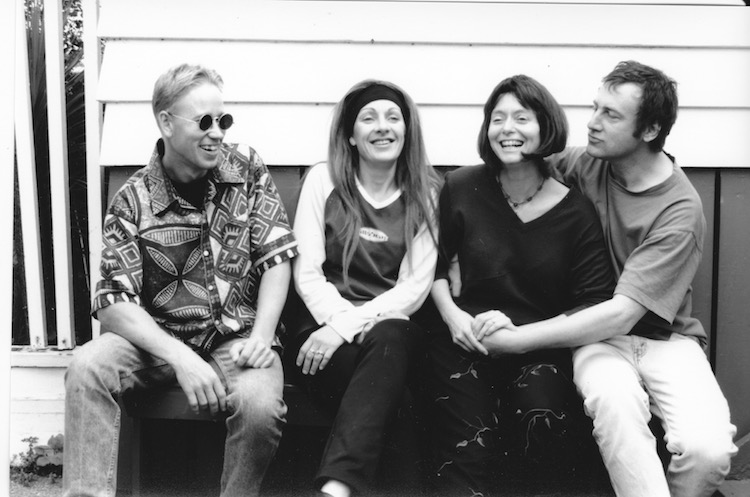 The Weather, circa 2000. From left to right: Mike Beck, Paula, me, Matthew Bannister. Photo by Roger Mortimer